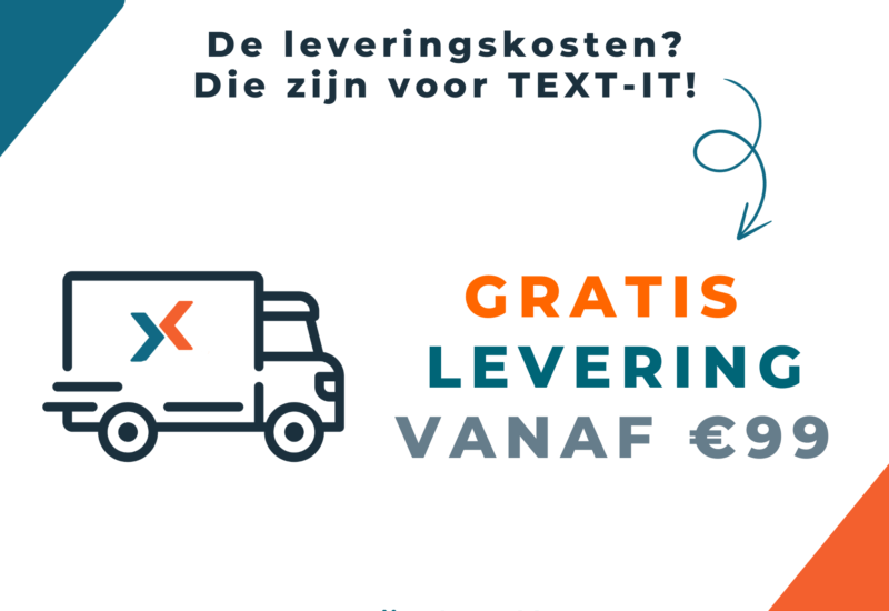 Gratis levering vanaf €99 via de TEXT-IT webshop
